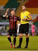 23 April 2021; Ali Coote of Bohemians protests to referee Paul McLaughlin during the SSE Airtricity League Premier Division match between Shamrock Rovers and Bohemians at Tallaght Stadium in Dublin. Photo by Eóin Noonan/Sportsfile