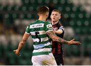 23 April 2021; Ross Tierney of Bohemians with Lee Grace of Shamrock Rovers during the SSE Airtricity League Premier Division match between Shamrock Rovers and Bohemians at Tallaght Stadium in Dublin. Photo by Eóin Noonan/Sportsfile