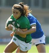 24 April 2021; Amee Leigh Murphy-Crowe of Ireland is tackled by Victory Ostuni Minuzzi of Italy during the Women's Six Nations Rugby Championship Play-off match between Ireland and Italy at Energia Park in Dublin. Photo by Matt Browne/Sportsfile