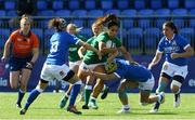 24 April 2021; Sene Naoupu of Ireland is tackled by Beatrice Rigoni and Michela Sillari of Italy during the Women's Six Nations Rugby Championship Play-off match between Ireland and Italy at Energia Park in Dublin. Photo by Matt Browne/Sportsfile