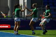 24 April 2021; Amee Leigh Murphy-Crowe of Ireland is congratulated by team-mates Stacey Flood and Hannah O'Connor after scoring the second try against Italy during the Women's Six Nations Rugby Championship Play-off match between Ireland and Italy at Energia Park in Dublin. Photo by Matt Browne/Sportsfile