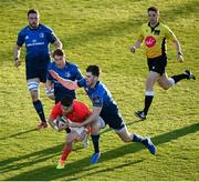 24 April 2021; Conor Murray of Munster dives over to score his side's first try despite the tackle of Harry Byrne of Leinster during the Guinness PRO14 Rainbow Cup match between Leinster and Munster at the RDS Arena in Dublin. Photo by Stephen McCarthy/Sportsfile