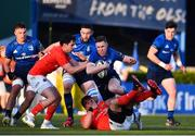 24 April 2021; Rory O'Loughlin of Leinster is tackled by Joey Carbery, left, and CJ Stander of Munster during the Guinness PRO14 Rainbow Cup match between Leinster and Munster at the RDS Arena in Dublin. Photo by Sam Barnes/Sportsfile