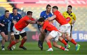 24 April 2021; James Lowe of Leinster in action against Munster players, from left, CJ Stander, Joey Carbery, and Jack O'Donoghue during the Guinness PRO14 Rainbow Cup match between Leinster and Munster at RDS Arena in Dublin. Photo by Piaras Ó Mídheach/Sportsfile