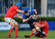 24 April 2021; Josh Murphy of Leinster is tackled by Tadhg Beirne, left, and CJ Stander of Munster during the Guinness PRO14 Rainbow Cup match between Leinster and Munster at the RDS Arena in Dublin. Photo by Sam Barnes/Sportsfile