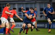 24 April 2021; Ed Byrne of Leinster is tackled by CJ Stander of Munster during the Guinness PRO14 Rainbow Cup match between Leinster and Munster at the RDS Arena in Dublin. Photo by Sam Barnes/Sportsfile