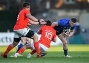 24 April 2021; Rory O'Loughlin of Leinster is tackled by CJ Stander of Munster, left, and Joey Carbery of Munster during the Guinness PRO14 Rainbow Cup match between Leinster and Munster at RDS Arena in Dublin. Photo by Piaras Ó Mídheach/Sportsfile