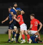24 April 2021; Craig Casey of Munster tussles with Scott Fardy of Leinster during the Guinness PRO14 Rainbow Cup match between Leinster and Munster at the RDS Arena in Dublin. Photo by Stephen McCarthy/Sportsfile