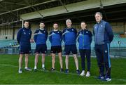 25 April 2021; Team management, from left, coach Paul Kinnerk, selector Donal O'Grady, selector Aonghus O'Brien, manager John Kiely, performance psychologist Caroline Currid and selector Alan Cunningham during a Limerick hurling squad portrait session at LIT Gaelic Grounds in Limerick. Photo by Piaras Ó Mídheach/Sportsfile