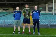 25 April 2021; Backroom team members, from left, masseur Adrian Kearns, team physio Mark Melbourne, and team doctor Dr James Ryan during a Limerick hurling squad portrait session at LIT Gaelic Grounds in Limerick. Photo by Piaras Ó Mídheach/Sportsfile