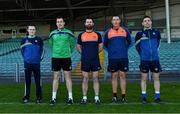 25 April 2021; Backroom team members, from left, Alan Feely, maor camán, Denny Ahern, statistics and analysis, goalkeeping coach Timmy Houlihan, Kieran Hickey, statistics and analysis, and Ruairí Maher, statistics and analysis, during a Limerick hurling squad portrait session at LIT Gaelic Grounds in Limerick. Photo by Piaras Ó Mídheach/Sportsfile