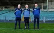 25 April 2021; Backroom team members, from left, kitman Ger O'Connell, Liaison officer Conor McCarthy and team logistics manager Éibhear O'Dea during a Limerick hurling squad portrait session at LIT Gaelic Grounds in Limerick. Photo by Piaras Ó Mídheach/Sportsfile