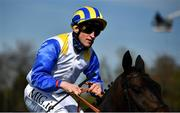 24 April 2021; Jockey Gary Halpin after winning the Irish Stallion Farms EBF Salsabil Stakes race on Rocky Star at Navan Racecourse in Navan, Meath. Photo by David Fitzgerald/Sportsfile