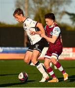 24 April 2021; Greg Sloggett of Dundalk and Darragh Markey of Drogheda United during the SSE Airtricity League Premier Division match between Dundalk and Drogheda United at Oriel Park in Dundalk, Louth. Photo by Ben McShane/Sportsfile