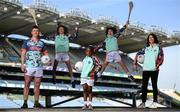 26 April 2021; Kellogg's GAA Cúl Camps ambassador and Mayo footballer Cillian O'Connor, left, Kellogg's GAA Cúl Camps ambassador and singer Sinead O'Carroll, with brothers Paddy, age 13, and Tom Nolan, age 10, of St Brigids GAA Club in Castleknock, Dublin, and Adriana Fayiah, centre, at the launch of the 2021 Kellogg's GAA Cúl Camps, in Croke Park, Dublin, as Kellogg celebrates the 10th year of the sponsorship. Starting on 28th June and running up to 27th August, the Kellogg's GAA Cúl Camps offer children a healthy, fun and safe summer outdoor activity. For more information and to book now, visit www.gaa.ie/kelloggsculcamps. Photo by Stephen McCarthy/Sportsfile