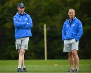 27 April 2021; Leinster head coach Leo Cullen and senior coach Stuart Lancaster, right, during Leinster rugby squad training at UCD in Dublin. Photo by Stephen McCarthy/Sportsfile