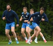 27 April 2021; Players, from left, Robbie Henshaw, Jordan Larmour, Garry Ringrose and Ross Byrne during Leinster rugby squad training at UCD in Dublin. Photo by Stephen McCarthy/Sportsfile