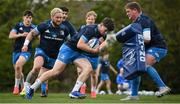 27 April 2021; Cormac Foley and Tadhg Furlong, right, during Leinster rugby squad training at UCD in Dublin. Photo by Stephen McCarthy/Sportsfile