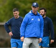 27 April 2021; Jonathan Sexton, left, Robbie Henshaw, right, and Leinster head coach Leo Cullen during Leinster rugby squad training at UCD in Dublin. Photo by Stephen McCarthy/Sportsfile
