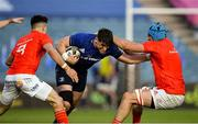 24 April 2021; Dan Sheehan of Leinster is tackled by Tadhg Beirne, right, and Conor Murray of Munster during the Guinness PRO14 Rainbow Cup match between Leinster and Munster at RDS Arena in Dublin. Photo by Piaras Ó Mídheach/Sportsfile