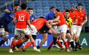 24 April 2021; Rory O'Loughlin of Leinster is tackled by Dave Kilcoyne of Munster during the Guinness PRO14 Rainbow Cup match between Leinster and Munster at RDS Arena in Dublin. Photo by Piaras Ó Mídheach/Sportsfile