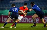 24 April 2021; Conor Murray of Munster in action against Andrew Porter, right, and David Hawkshaw of Leinster during the Guinness PRO14 Rainbow Cup match between Leinster and Munster at RDS Arena in Dublin. Photo by Piaras Ó Mídheach/Sportsfile