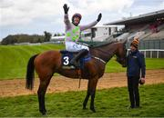 27 April 2021; Paul Townend celebrates on Chacun Pour Soi after winning the William Hill Champion Steeplechase during day one of the Punchestown Festival at Punchestown Racecourse in Kildare. Photo by David Fitzgerald/Sportsfile