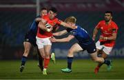 24 April 2021; Calvin Nash of Munster is tackled by Tommy O'Brien, right, and Rory O'Loughlin of Leinster during the Guinness PRO14 Rainbow Cup match between Leinster and Munster at RDS Arena in Dublin. Photo by Piaras Ó Mídheach/Sportsfile