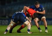 24 April 2021; CJ Stander of Munster is tackled by Scott Penny, right, and Martin Moloney of Leinster during the Guinness PRO14 Rainbow Cup match between Leinster and Munster at RDS Arena in Dublin. Photo by Piaras Ó Mídheach/Sportsfile