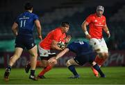 24 April 2021; CJ Stander of Munster is tackled by Ryan Baird of Leinster during the Guinness PRO14 Rainbow Cup match between Leinster and Munster at RDS Arena in Dublin. Photo by Piaras Ó Mídheach/Sportsfile