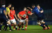 24 April 2021; Damian de Allende of Munster is tackled by Josh Murphy of Leinster during the Guinness PRO14 Rainbow Cup match between Leinster and Munster at RDS Arena in Dublin. Photo by Piaras Ó Mídheach/Sportsfile