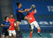 24 April 2021; James Lowe of Leinster in action against Keith Earls of Munster during the Guinness PRO14 Rainbow Cup match between Leinster and Munster at RDS Arena in Dublin. Photo by Piaras Ó Mídheach/Sportsfile