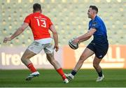 24 April 2021; Rory O'Loughlin of Leinster in action against Chris Farrell of Munster during the Guinness PRO14 Rainbow Cup match between Leinster and Munster at RDS Arena in Dublin. Photo by Piaras Ó Mídheach/Sportsfile