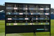 24 April 2021; A general view of a media interview backdrop board before the Guinness PRO14 Rainbow Cup match between Leinster and Munster at RDS Arena in Dublin. Photo by Piaras Ó Mídheach/Sportsfile
