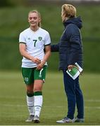 28 April 2021; Katie Malone and manager Vera Pauw during a Republic of Ireland WNT home-based training session at the FAI National Training Centre in Abbotstown, Dublin. Photo by Harry Murphy/Sportsfile