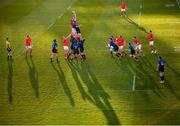 24 April 2021; Tadhg Beirne of Munster takes possession in a line-out ahead of Ross Molony of Leinster during the Guinness PRO14 Rainbow Cup match between Leinster and Munster at the RDS Arena in Dublin. Photo by Stephen McCarthy/Sportsfile