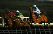30 April 2021; Honeysuckle, with Rachael Blackmore up, right, jumps the last on their first time round during the Paddy Power Champion Hurdle during day four of the Punchestown Festival at Punchestown Racecourse in Kildare. Photo by Harry Murphy/Sportsfile