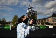 30 April 2021; Jockey Rachael Blackmore celebrates with the cup after winning the Paddy Power Champion Hurdle on Honeysuckle during day four of the Punchestown Festival at Punchestown Racecourse in Kildare. Photo by Harry Murphy/Sportsfile