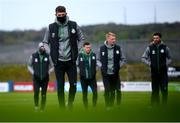 30 April 2021; Lee Grace and his Shamrock Rovers teammates walk the pitch prior to the SSE Airtricity League Premier Division match between Finn Harps and Shamrock Rovers at Finn Park in Ballybofey, Donegal. Photo by Stephen McCarthy/Sportsfile