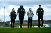 30 April 2021; Shamrock Rovers players, from left, Aaron Greene, Dylan Watts, Rory Gaffney and Graham Burke walk the pitch prior to the SSE Airtricity League Premier Division match between Finn Harps and Shamrock Rovers at Finn Park in Ballybofey, Donegal. Photo by Stephen McCarthy/Sportsfile