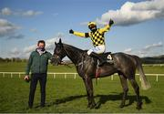 30 April 2021; Jockey Paul Townend celebrates on Gaillard Du Mesnil after winning the Alanna Homes Champion Novice Hurdle during day four of the Punchestown Festival at Punchestown Racecourse in Kildare. Photo by Harry Murphy/Sportsfile