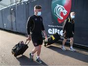 30 April 2021; Ian Madigan, left, and Dave Shanahan of Ulster arrive before the Heineken Challenge Cup semi-final match between Leicester Tigers and Ulster at Welford Road in Leicester, England. Photo by Matt Impey/Sportsfile