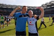 7 July 2013; David O'Callaghan, Dublin, celebrates with mentor Tony Griffin after the game. Leinster GAA Hurling Senior Championship Final, Galway v Dublin, Croke Park, Dublin. Picture credit: Ray McManus / SPORTSFILE