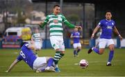 30 April 2021; Graham Burke of Shamrock Rovers is tackled by Johnny Dunleavy of Finn Harps during the SSE Airtricity League Premier Division match between Finn Harps and Shamrock Rovers at Finn Park in Ballybofey, Donegal. Photo by Stephen McCarthy/Sportsfile