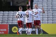 30 April 2021; Georgie Kelly of Bohemians, right, is congratulated by team-mates after scoring his side's first goal during the SSE Airtricity League Premier Division match between Bohemians and Derry City at Dalymount Park in Dublin. Photo by Seb Daly/Sportsfile