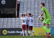 30 April 2021; Georgie Kelly of Bohemians, centre, is congratulated by team-mates after scoring his side's first goal during the SSE Airtricity League Premier Division match between Bohemians and Derry City at Dalymount Park in Dublin. Photo by Seb Daly/Sportsfile