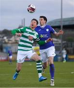 30 April 2021; Ronan Finn of Shamrock Rovers in action against Johnny Dunleavy of Finn Harps during the SSE Airtricity League Premier Division match between Finn Harps and Shamrock Rovers at Finn Park in Ballybofey, Donegal. Photo by Stephen McCarthy/Sportsfile