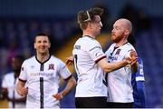 30 April 2021; Chris Shields, right, celebrates with Dundalk teammate Ole Erik Midtskogen, after scoring his side's second goal during the SSE Airtricity League Premier Division match between Waterford and Dundalk at the RSC in Waterford. Photo by Sam Barnes/Sportsfile