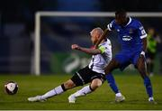 30 April 2021; Chris Shields of Dundalk in action against Prince Mutswunguma of Waterford during the SSE Airtricity League Premier Division match between Waterford and Dundalk at the RSC in Waterford. Photo by Sam Barnes/Sportsfile