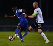 30 April 2021; Prince Mutswunguma of Waterford in action against Chris Shields of Dundalk during the SSE Airtricity League Premier Division match between Waterford and Dundalk at the RSC in Waterford. Photo by Sam Barnes/Sportsfile